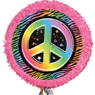 Pull String Neon Peace Sign Pinata