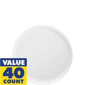 White Plastic Snack Plates 40ct