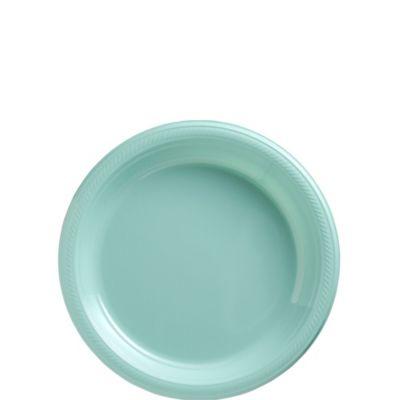 Robin's Egg Blue Plastic Dessert Plates 20ct