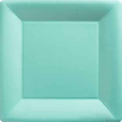 Robin's Egg Blue Paper Square Dinner Plates 20ct