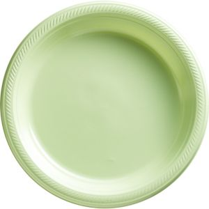 Leaf Green Plastic Dinner Plates 50ct