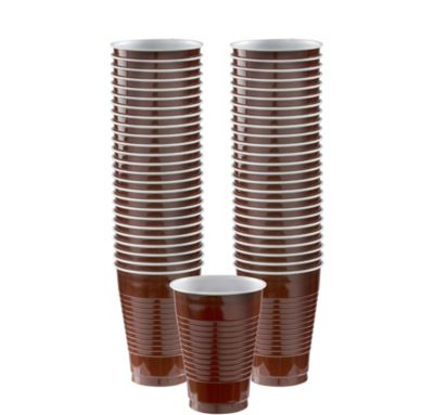 BOGO Chocolate Brown Plastic Cups 12oz 50ct