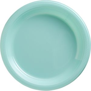 Big Party Pack Robin's Egg Blue Plastic Dinner Plates 50ct