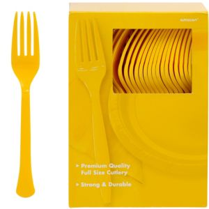 Big Party Pack Sunshine Yellow Premium Plastic Forks 100ct