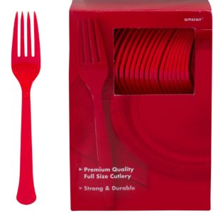 Big Party Pack Red Premium Plastic Forks 100ct
