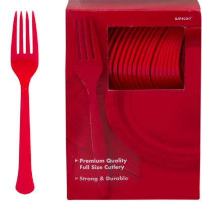 Red Premium Plastic Forks 100ct