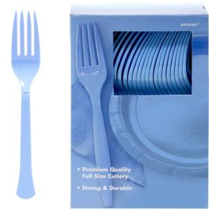 Big Party Pack Pastel Blue Premium Plastic Forks 100ct