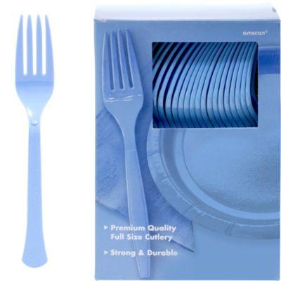 Pastel Blue Premium Plastic Forks 100ct