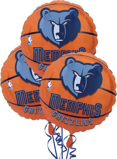 Memphis Grizzlies Balloons 18in 3ct