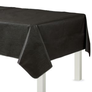 Black Flannel-Backed Vinyl Tablecloth