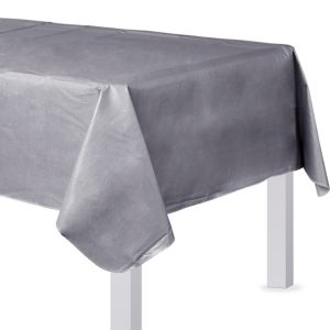 Silver Flannel-Backed Vinyl Table Cover