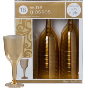 Gold Premium Plastic Wine Glasses 18ct