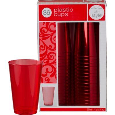 Red Premium Plastic Tumblers 36ct