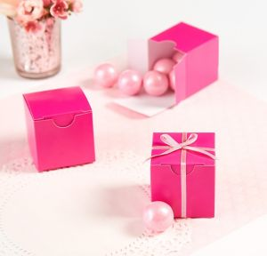 Bright Pink Square Favor Boxes
