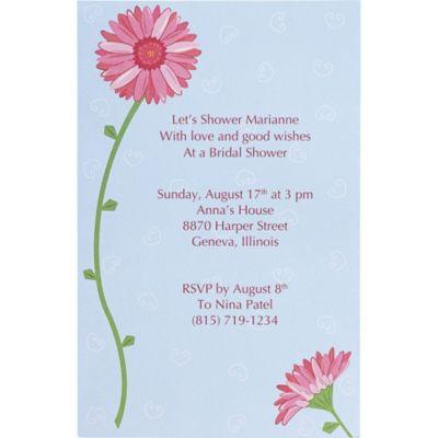 Pink Gerbera Printable Bridal Shower Invitations 12ct