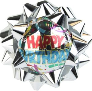 Silver Happy Birthday Balloon Gift Bow
