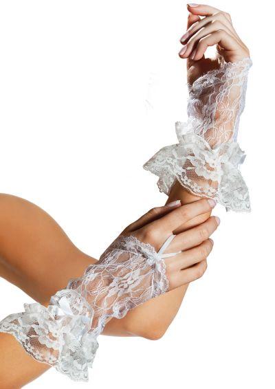 White Lace Fingerless Gloves Deluxe