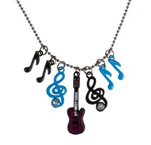 Purple Turquoise And Black Charm Necklace