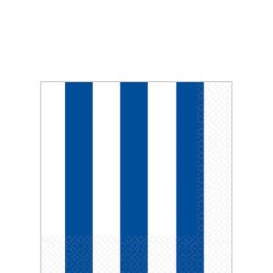 Royal Blue Striped Beverage Napkins 16ct