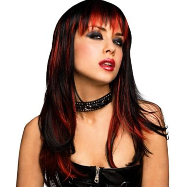 Red and Black Goth Wig