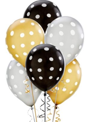 Polka Dot Balloons 20ct - Black, Gold & Silver