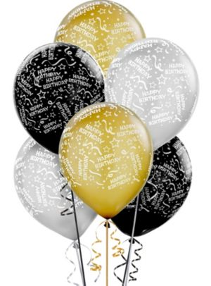 Confetti Birthday Balloons 20ct - Black, Gold & Silver