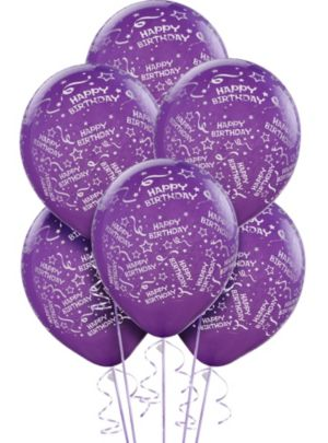 Purple Birthday Balloons 6ct - Confetti