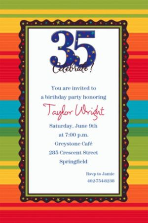 Custom A Year to Celebrate 35th Birthday Invitations