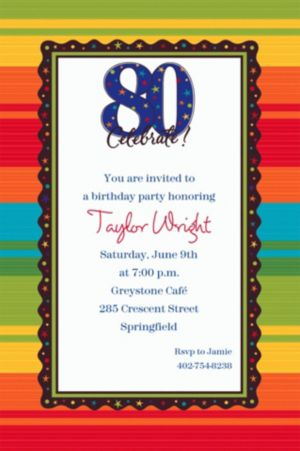 Custom A Year to Celebrate 80th Invitations