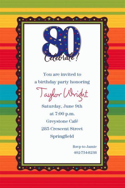 Custom A Year to Celebrate 80th Invitations