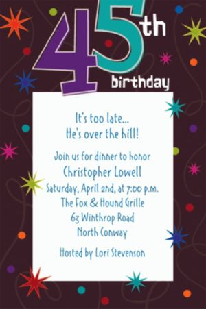 Custom The Party Continues 45th Invitations