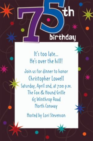 Custom The Party Continues 75th Invitations