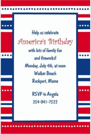 Custom American Summer Stripes Invitations