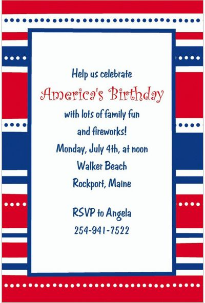 American Summer Stripes Custom Invitation