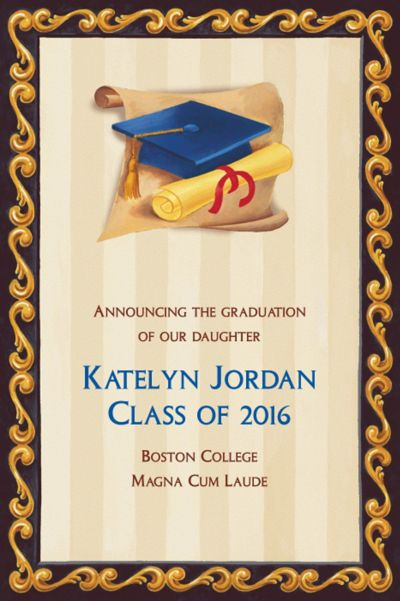 Custom Blue Grad Portrait Graduation Announcements
