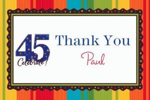 Custom A Year to Celebrate 45th Thank You Notes
