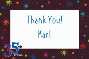 Custom The Party Continues 35th Birthday Thank You Notes