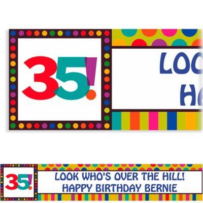 Birthday Dots & Stripes 35 Custom Banner 6ft