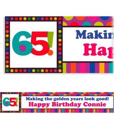 Birthday Dots & Stripes 65 Custom Banner 6ft