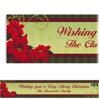 Vintage Poinsettia Custom Christmas Banner