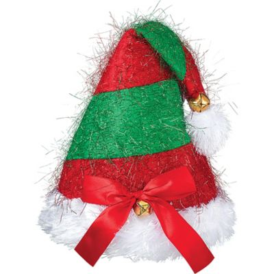 Red & Green Striped Jingle Bell Hat