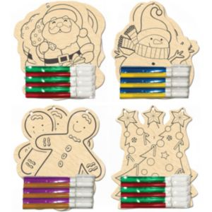 Wood Ornament Decorating Activity Kit 12ct