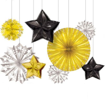 Black, Gold & Silver New Year's Starburst Decorations 8ct