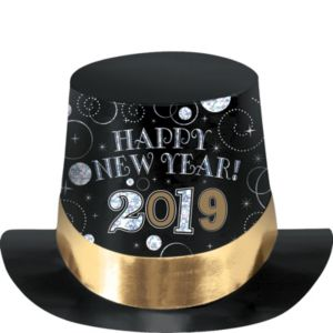 Black, Gold & Silver 2016 New Year's Top Hat