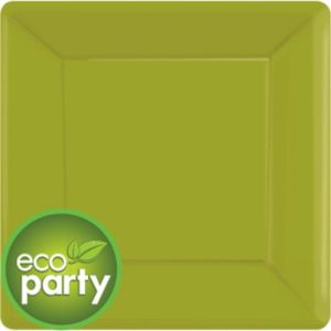 Eco Friendly Avocado Square Paper Dinner Plates 20ct