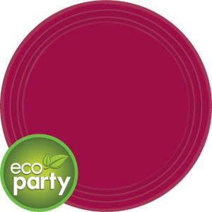 Eco-Friendly Raspberry Paper Lunch Plates 24ct