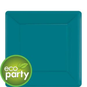 Eco-Friendly Peacock Blue Paper Square Dessert Plates 20ct
