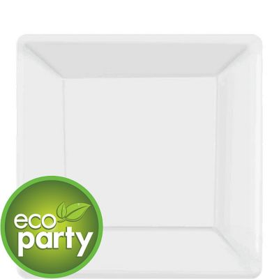 Eco Friendly White Paper Square Dessert Plates 20ct