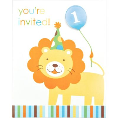Blue Sweet at One 1st Birthday Invitations 8ct