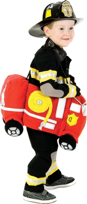 Toddler Boys Plush Ride in Firetruck Costume